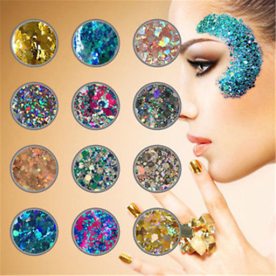 10g Mixed Holographic Flake Chunky Festival Glitter Nail Face Tattoo Body DIY