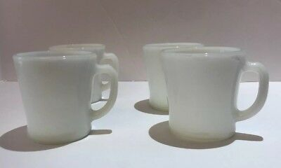Vintage Fire King Anchor Hocking White Milk Glass Coffee Mugs D Handle Set of 4