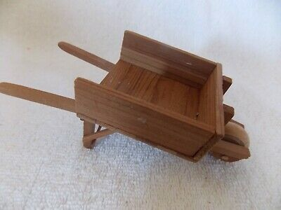 Vintage Miniature Doll House Wood Wheelbarrow