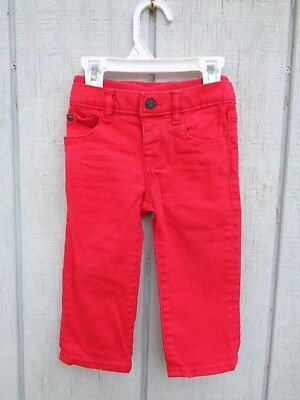 Baby Gap Denim Jeans Baby Girls Pants 12-18 M 18m 12m Logo Red