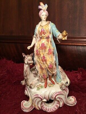 "ANTIQUE 19th FRENCH HARD PASTE PORCELAIN EMBLEMATIC AFRICA STATUE FIGURINE 11""!"