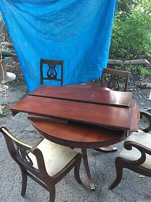 Antique Mahogany Duncan Phyfe Style Dining Room Table With 4 Lyre Harp Chairs
