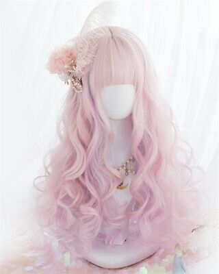 Lolita 50CM  Purple Pink Popular Daily Party Long Curly Cosplay Wig  Cute Japan