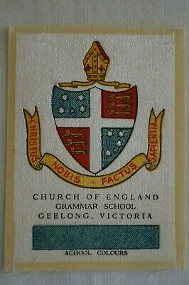 Vintage 1911 Wills Silk School Crests Church Of England Grammar School Geelong