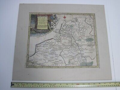 1700's Isaak Tirion Map of Old Netherlands & Amsterdam Colored Engraving Kaart
