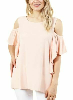 Fashion House La Women's Short Sleeve Cold Shoulder Top With Round Neck Collar