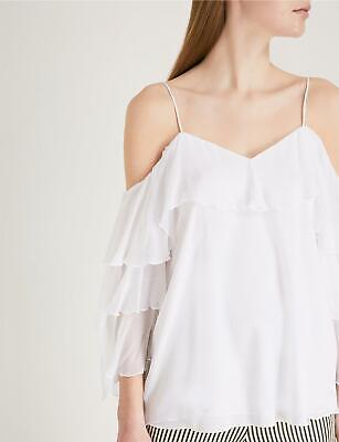 Alice + Olivia Marylee Cold-Shoulder Ruffled Woven Top White