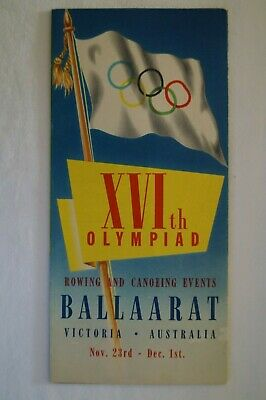 Olympic Games Collectable 1956 Melbourne Vintage Ballarat Rowing Canoe Guide Pgm