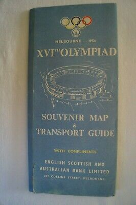 Olympic Games Collectable 1956 Melbourne Vintage Souvenir Map & Transport Guide