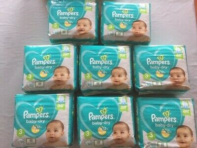LOT DE 240 COUCHES PAMPERS BABY-DRY TAILLE 3 (6-10 kg)