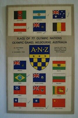 Olympic Games Collectable 1956 Melbourne Vintage ANZ Flags of 77 Olympic Nations