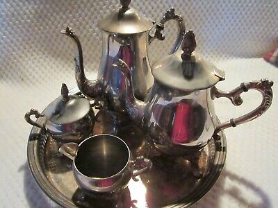 Vintage 5 piece Heavy Silver Plated Tea Set with Tray in EXCELLENT CONDITION