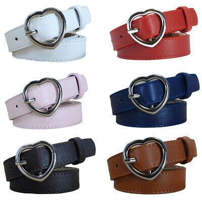 Ladies Silver Metal Heart Buckle Belt Skinny Faux Leather Jeans Dress Waistband