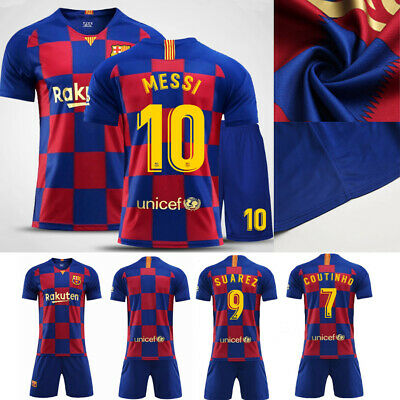 2019/20 Messi Football Soccer Short Sleeve Kit Jersey Strips 3-14Y Kid Boys Suit
