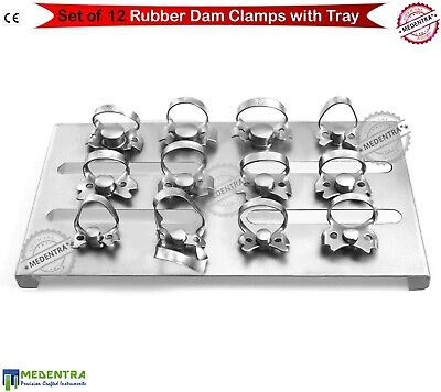 Rubber Dam 12 Clamps With Holder Tray Stand Dental Dams Placement Endo Clamp Set