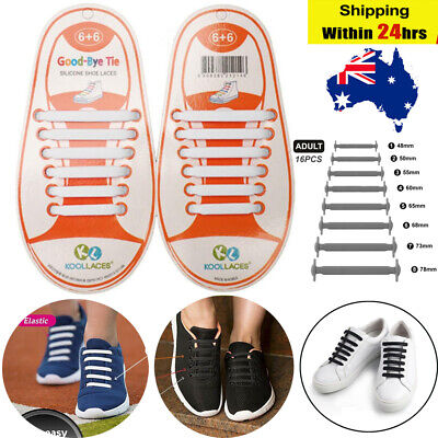 16Pcs Shoelaces Easy Lazy No Tie Elastic Silicone Sport Runners Shoe Lace Unisex
