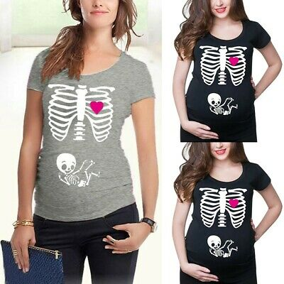 Women Maternity Short Sleeve Skeleton Print Tops T-shirt Pregnant Casual Clothes