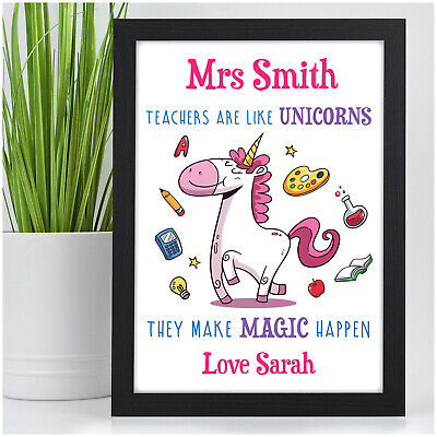 PERSONALISED Unicorn Gifts for Teacher Assistant Childminder Nursery End Of Term