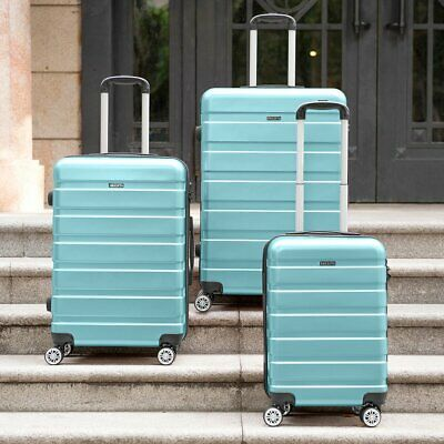 Blue Hard Shell Cabin Suitcase 4 Wheel Travel Luggage Trolley Lightweight Case