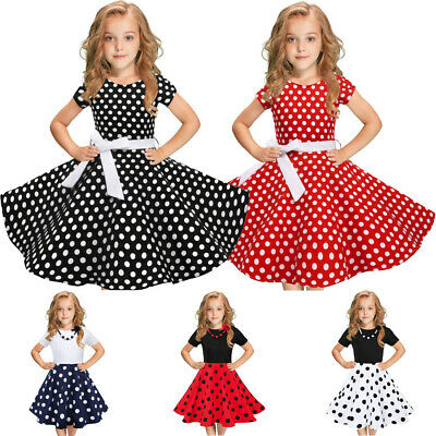 AU Kids Girls Vintage Polka Dot Princess Swing Rockabilly Party Fashion Dresses