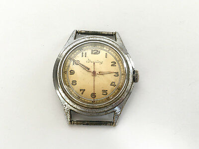 Vintage Rare BREITLING Military WWII Chrome plated Swiss Watch 40's