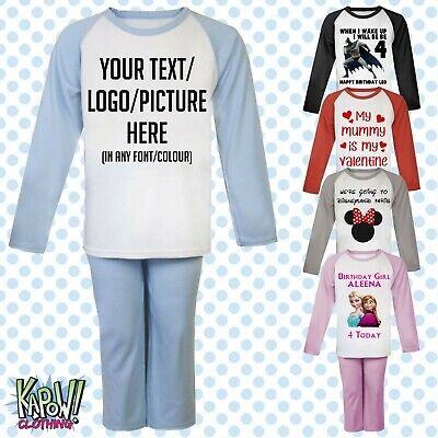 Custom Personalised Kids Baby Pyjamas PJs Raglan Sleep Night Wear Gift Toddler 2
