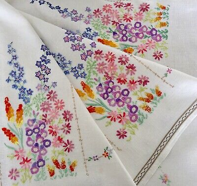 Vintage Stunning Linen Tablecloth Hand Embroidered Cottage Garden Flowers