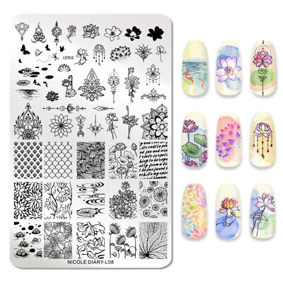 NICOLE DIARY Stamping Plate Lotus Patterns Stainless Steel Nail Art Tools L08