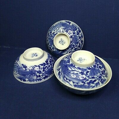 Antique A pair of Chinese porcelain blue and white bowls, 19th century.