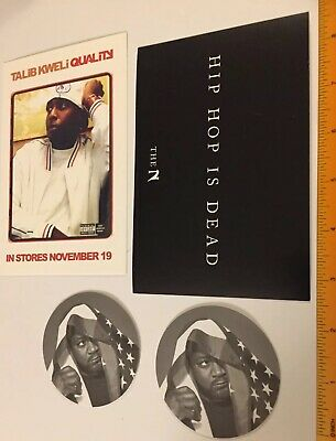 2 WU-TANG GHOSTFACE promo STICKERS + Talib Kweli NAS Hip-Hop Is DEAD postcards