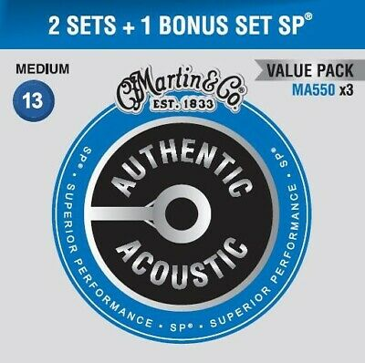 Martin 2 Sets + Bonus Set Authentic SP 13-56 Phosphor Acoustic Guitar Strings