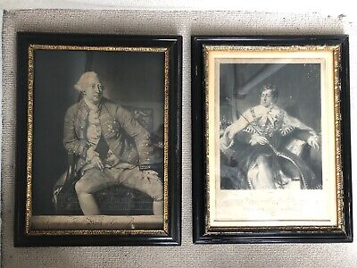 A Pair Of Antique Etched Prints Of King George III and IV