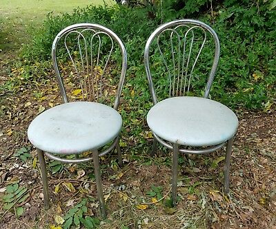 Retro 1950s Diner Chairs Chrome Blue Vinyl Vintage Antique Dinning Chair Set
