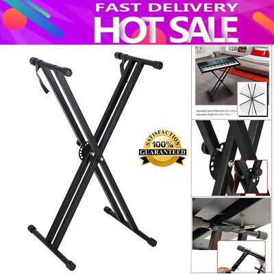 Portable X-Style Keyboard Stand Double Braced Music Electric Organ Holder Adjust