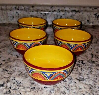 """5 Pier 1 Mexicali Ironstone 4.25"""" DIP BOWLS - VERY  COLORFUL!"""