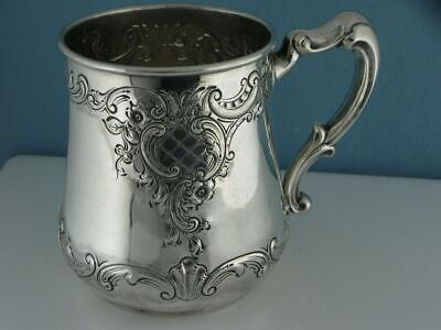 Sterling DOMINICK & HAFF Cup / Mug w/ chased floral scroll patterns 4.69ozt