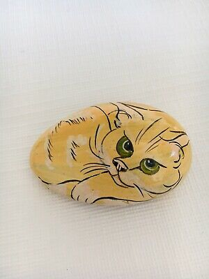 Vintage Hand Painted Cobble Stone Cat Pebble Signed Fay Hutchins 1986