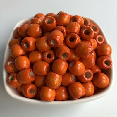 50X Orange Wooden Macrame Beads 12x11mm Dreadlock Drum Barrel Wood Bead 5mm Hole