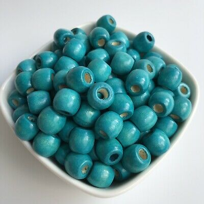50X Turquoise Blue Wooden Macrame Beads 12x11mm Dreadlock Barrel Bead 5mm Hole