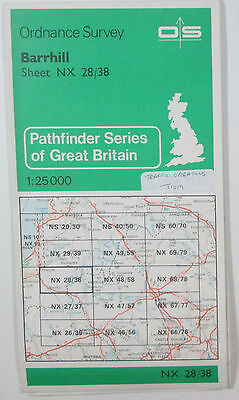 1988 old vintage OS Ordnance Survey Pathfinder 1:25000 map Barrhill NX 28/38