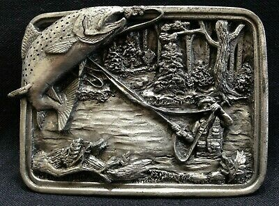 Bergamot 1983 - Fly Fishing - Speckled Trout - Belt Buckle - Free Shipping