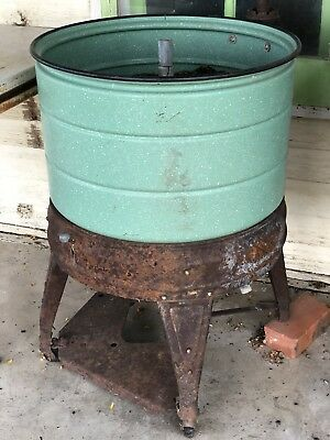 Antique Vintage Ideal Wash Tub Stand Double Cooler Chest