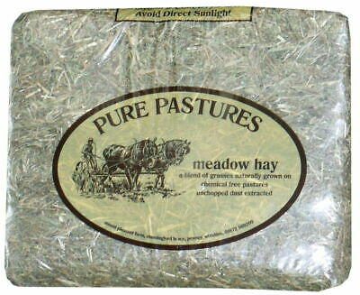 PURE PASTURES MEADOW HAY- PACK OF 2 x 1KG BALES- CHEMICAL FREE- FREE P&P