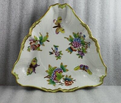 """Herend Queen Victoria 10"""" Triangular Vegetable Serving Bowl 1191 VBO"""