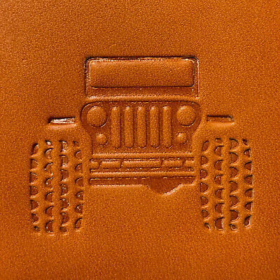 "Jeep Leather Embossing Stamp / Clicker Stamp, Delrin 2"" x 1.5"""