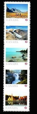 Canada MNH booklet strip of 5 'P', 2019 Far & Wide [Tombstone on top]