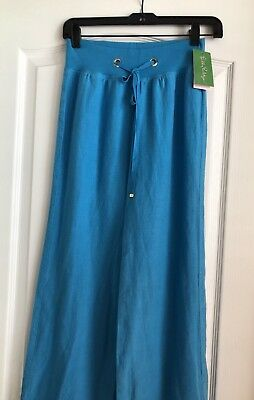New Lilly Pulitzer Ariel Blue Linen Beach Wide Leg Pants Size XXS ~ NWT $118