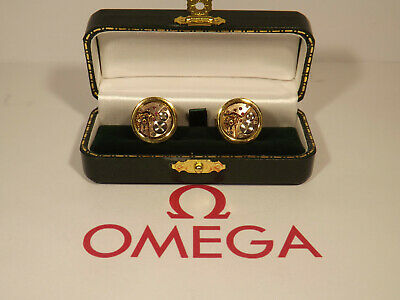 Vintage Omega Watch Movement: Cufflinks Cal' 580:1960s.On SOLID SILVER with gold
