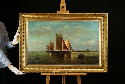 Large 19th Century French | Marine Maritime Oil Painting | Sailing Off the Coast