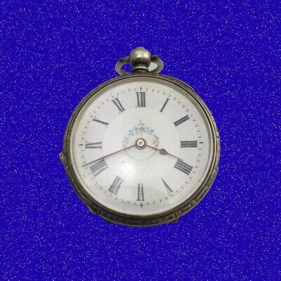 Pretty Swiss Silver Key-WInd 15 Jewel Poly-chrome Enamel Pocket Watch 1862